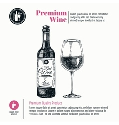 background with hand drawn wine bottle and vector image