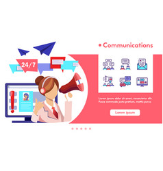 banner communication with linear icons set vector image