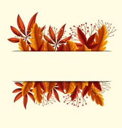 banner design with orange leaves and flowers vector image