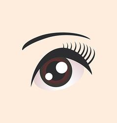 Beautiful brown female eye on beige background vector image