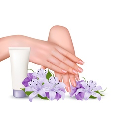 Beautiful young female hands with a cream vector