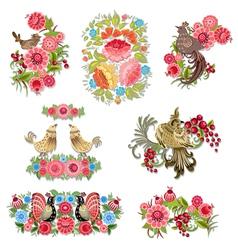 bird flower set vector image