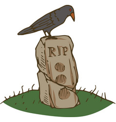 Black crow and old gravestone vector