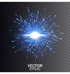 Blue explosion Star burst with sparkles vector