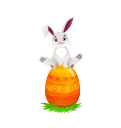Bunny or rabbit on egg easter holiday vector
