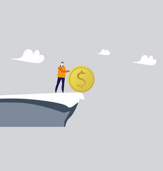 Businessman pushing dollar coin into abyss vector