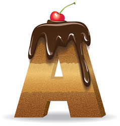 Cake letter A- birthday font vector
