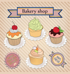 Cake set cafe menu background bakery label sweet vector