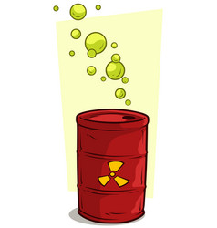 Cartoon red metal barrel with radiation sign vector