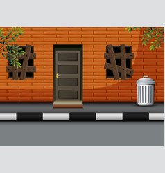 cartoon view of uninhabited house vector image