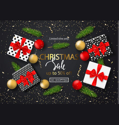 christmas sale poster with gift boxes serpentine vector image