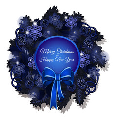 christmas sketch with a christmas wreath in blue vector image