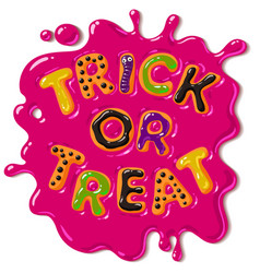 Colorful candy letters trick or treat in puddle of vector