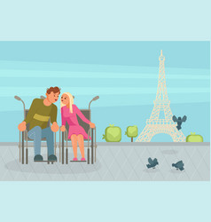 Couple of lovers in wheelchairs kisses vector