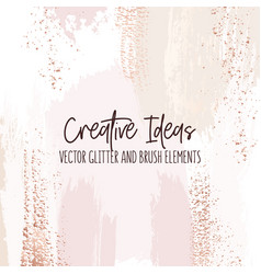 creative brush strokes glitter elements golden vector image