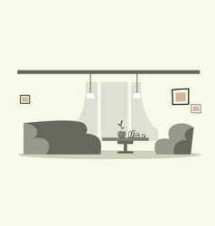 Creative lounge area with couch and armchair empty vector