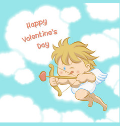 cupid aiming with bow and arrow vector image