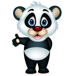 cute cartoon panda posing vector image