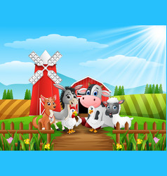 Cute farm animals in front of cattle warehouse vector