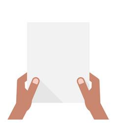 dark-skinned hands holding sheet of paper vector image