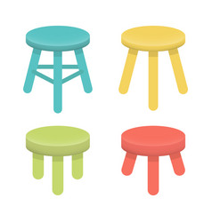 different stool with three legs set vector image