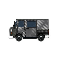drawing truck postal delivery transport design vector image