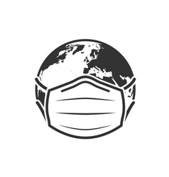Earth globe in medical face mask icon vector