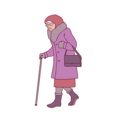 elderly woman with walking vector image