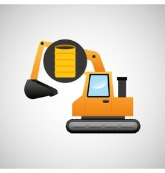 Excavator construction barrel graphic vector