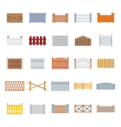 fence country types icons set flat style vector image