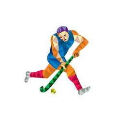 Field Hockey Player Running With Stick Low Polygon vector image