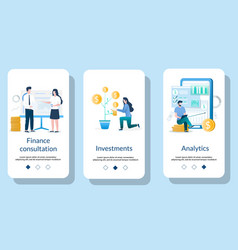 finance management mobile app onboarding screens vector image