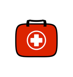 First aid kit for travel purposes symbol red bag vector