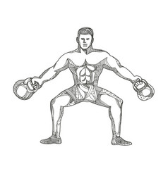 Fitness athlete lifting kettlebell doodle art vector