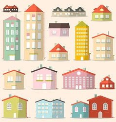 Flat Design Paper Houses - Buildings Set vector image