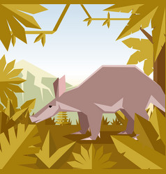 flat geometric jungle background with aardwark vector image