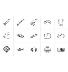 food hand drawn sketch icon set vector image