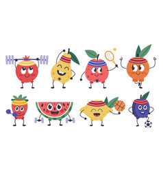 Fruit fitness characters doodle mascots do vector