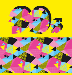 fun repeatable pattern with colorful 90s vibes vector image