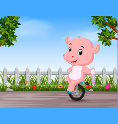 funny hippo playing unicycle in the road vector image