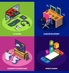 gaming development 2x2 design concept vector image