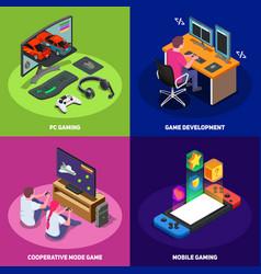 Gaming development 2x2 design concept vector