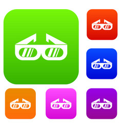 Glasses for 3d movie set collection vector