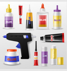 Glue gluestick and gluely liquid in bottle vector