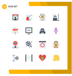 Group 16 flat colors signs and symbols vector