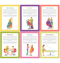 Hair styling and manicurist client posters vector