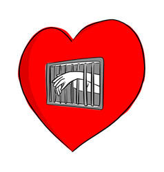 Hand of person in the jail of the red heart shape vector