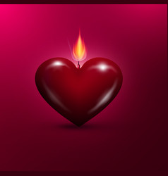 Heart shaped lit candle valentines day background vector