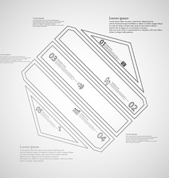 Hexagon infographic template created by five grey vector