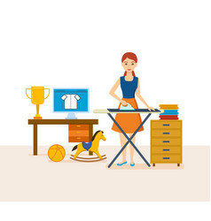 Housewife engaged in household chores cleaned vector